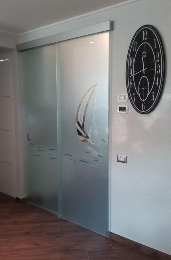 Realizzazioni in vetro photogallery vetreria squillante genova - Dettaglio porta scorrevole ...